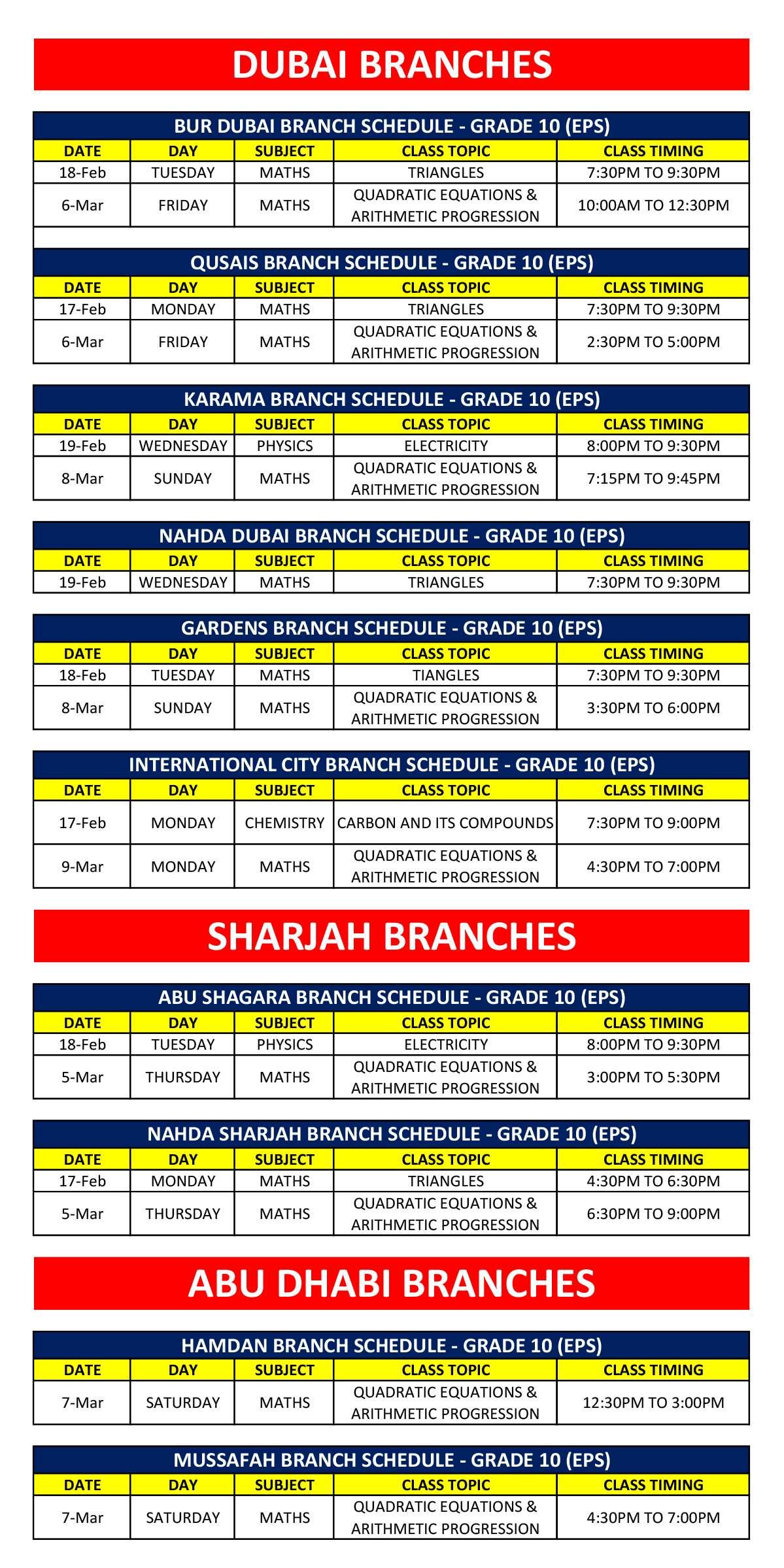 Class 10 Schedule